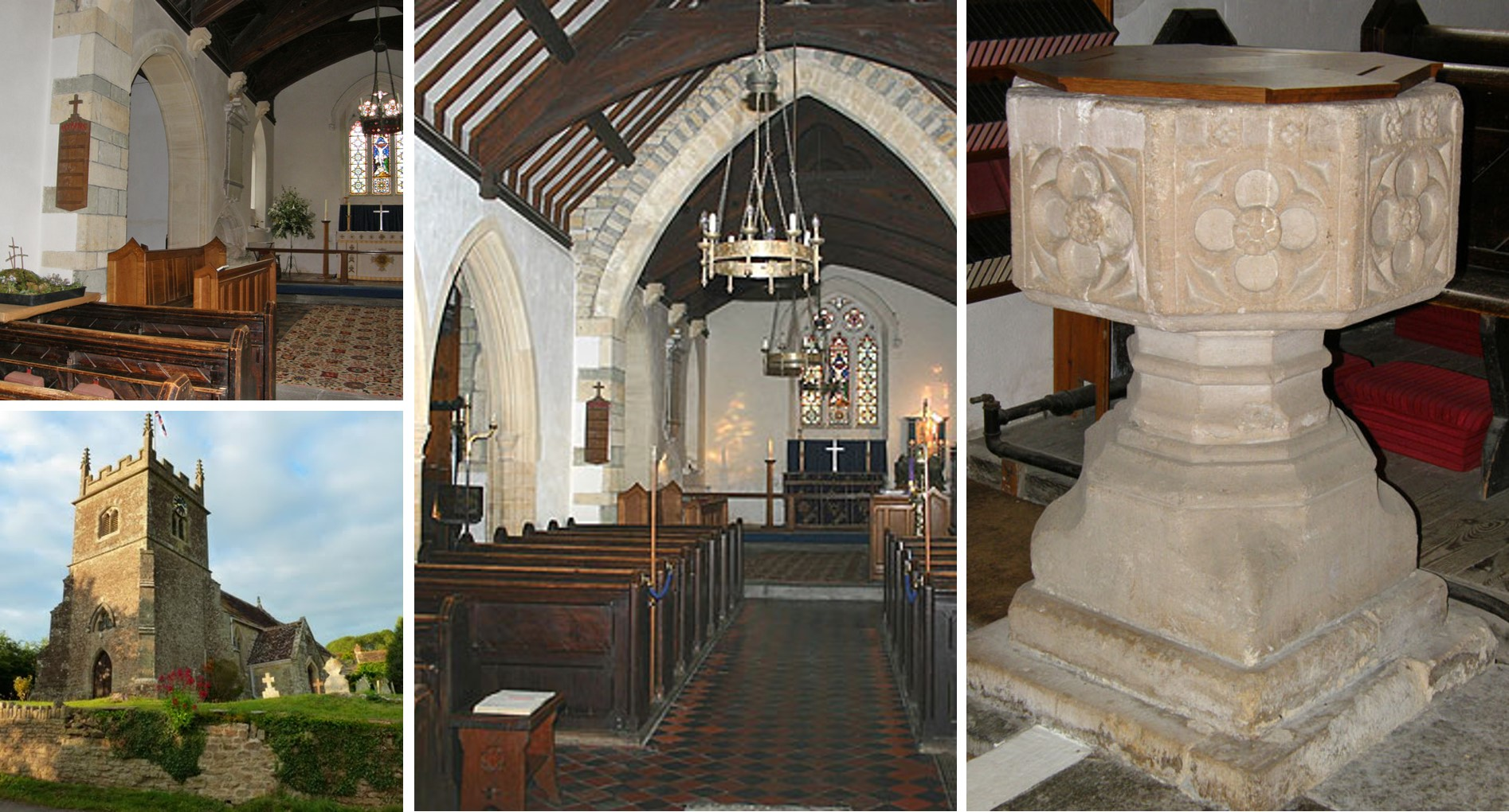 Four images of St John's church. Top left shows a view of the choir stalls and alter. Bottom left shows a view of the bell tower. Centre shows a view of the congregation and alter. Right shows a view of the ancient font.