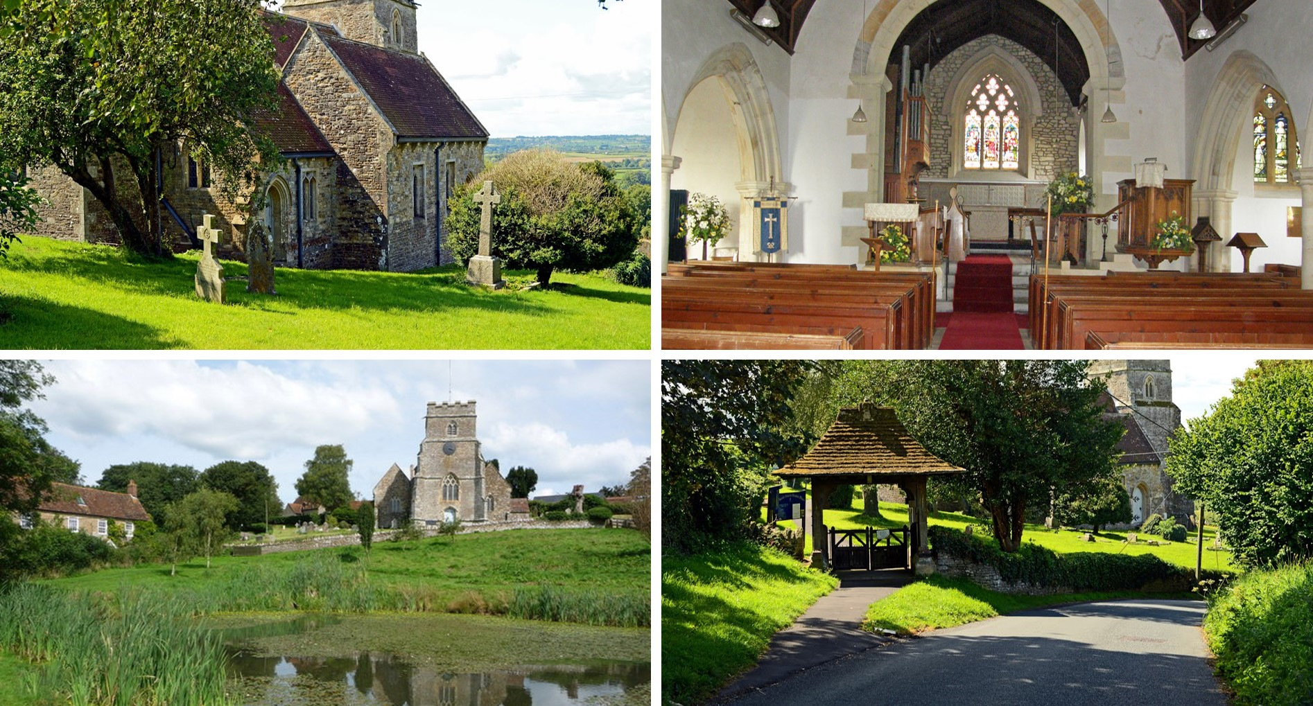 Four images of All Saints church. Top left is a view looking downhill across the cemetery to the church. Top right show a view of the congregation and alter. Bottom left shows a view of the church looking uphill from the ponds. Bottom right shows a view of the top gate.