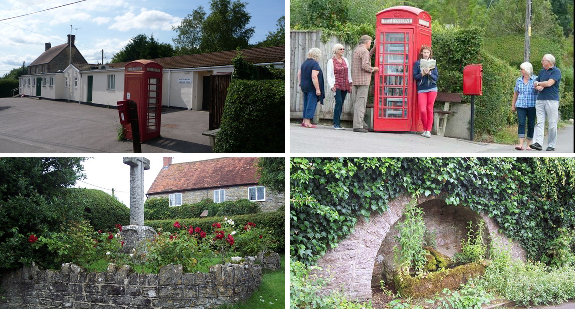 Four images of Kington Magna. Top left shows a view of the village hall and phone box library. Top right shows another view of the phone box library. Bottom left shows a view of the war memorial and gardens. Bottom right shows a view of the horse trough.
