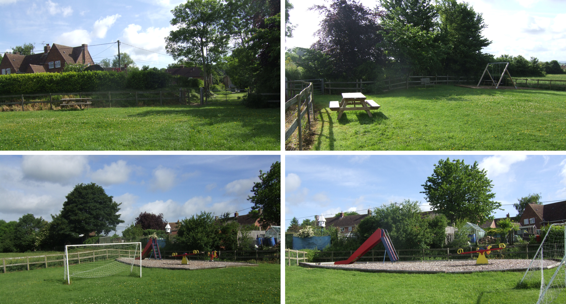 Four images of Kington Magna play area showing the lovely open space, picnic table and ranges of play equipment.