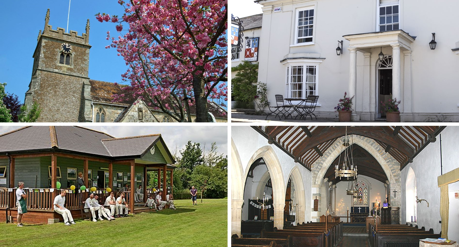Four images of Buckhorn Weston. Top left is a view of St John's church with the cherry tree in full bloom. Top right shows a view of the Stapleton Arms pub. Bottom left shows the cricket pavilion. Bottom right shows the congregation and alter of St John's church.