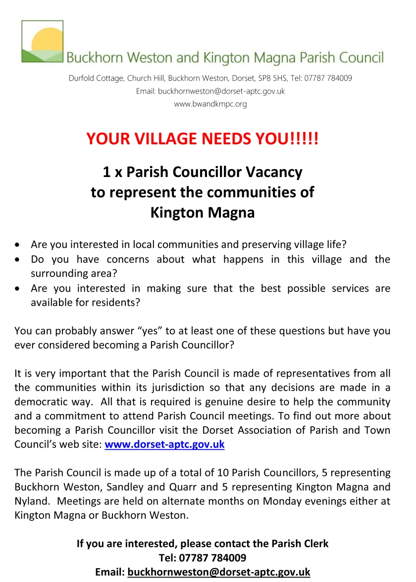 BUCKHORN WESTON & KINGTON MAGNA PARISH COUNCIL